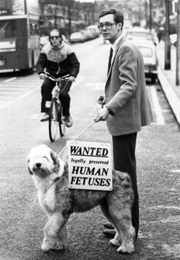 A dog advertising for human limbs and fetuses