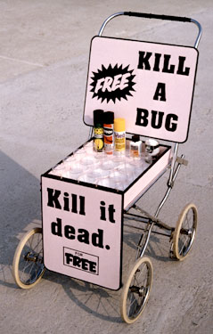 Cart for displaying devices for killing insects